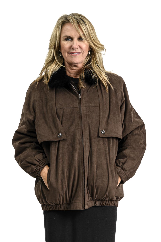 W111 2 Suede and Mink Fur Jacket