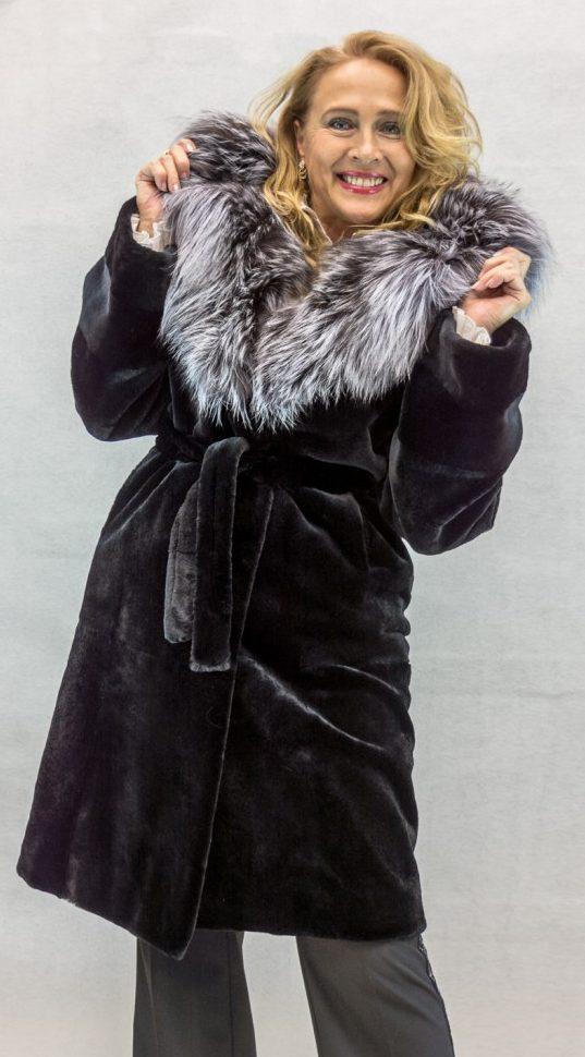 W12 black sheared mink 38 parka with natural silver fox trim2 e1482992815308