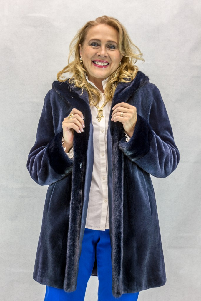 W15 navy blue sheared letout mink 32 parka with matching long hair mink trim2
