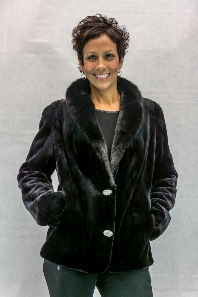 W17 black sheared letout 26 mink blazer jacket with natural ranch mink shawl collar2