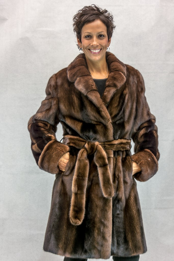 W27 dark lunaraine cross letout female mink 38 coat with tie belt2