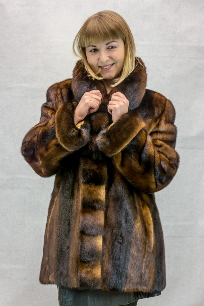 W34 cognac skin on skin female mink 30 jacket with cross cut design2