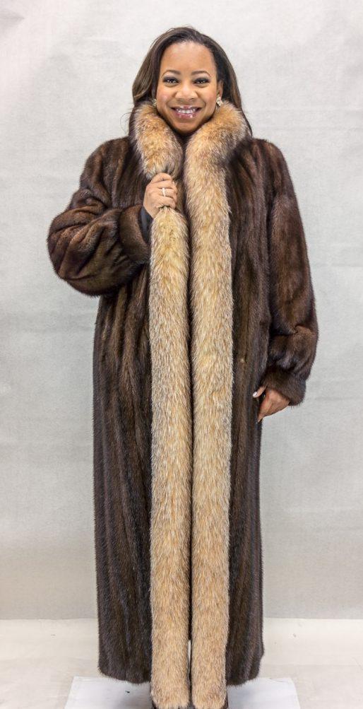 W37 natural dark lunaraine letout female mink 52 coat with crystal fyed fox tuxedo trim2 e1480111746430