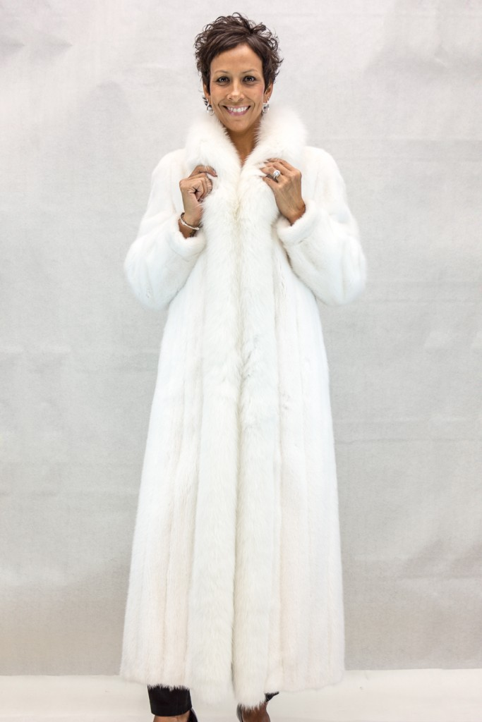 W38 natural white rovalia letout female mink 52 coat with white shadow fox tuxedo trim2