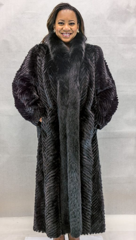 W41 black ranch mink tail chevron design 52 coat with black fox tuxedo trim2 e1480092603896