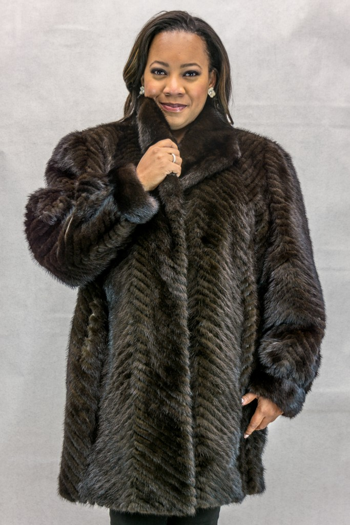W42 natural brown mink tail chevron design 34 coat with full mink shawl style collar and trim2