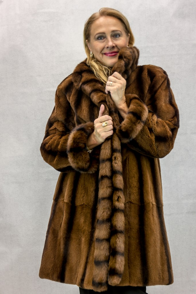 W50 dark caramel sheared 36 mink with long hair cross cut mink tuxedo reverses to caramel taffeta rain silk4