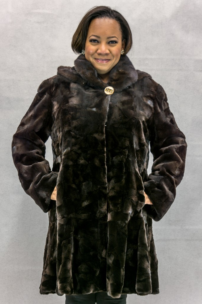 W52 brown sheared mink sections 36 with natrual lunaraine mink trim with detachable hood2