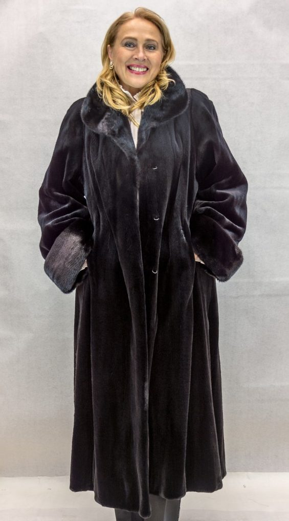 W57 black letout sheared mink 49 coat with blackglama ranch mink collar and turn back cuffs and grooving design2 e1480092572821