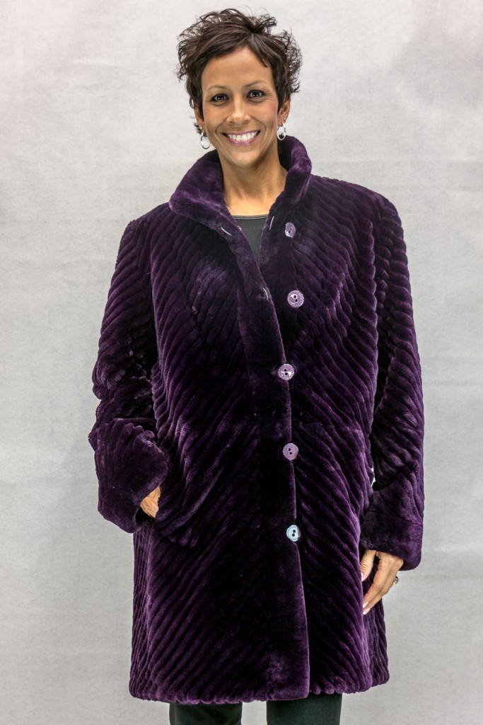 W61 dark violet sheared beaver 35 with chevron design grooving reverses to violet taffeta silk2