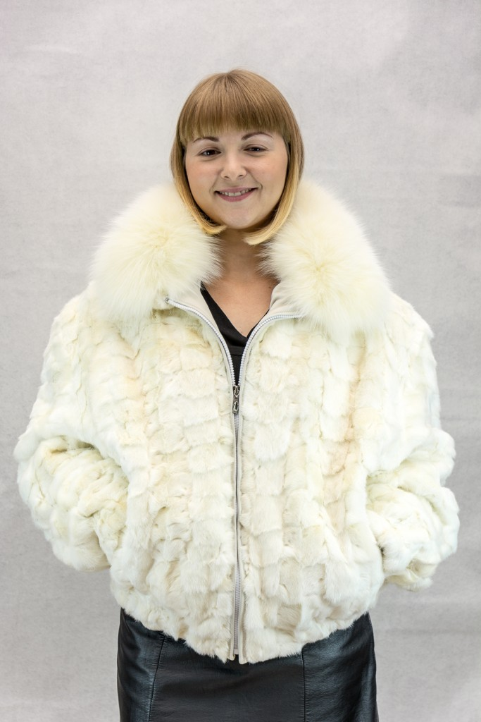 W63 natural oyster white diamond cut mink sections 24 zip jacket with shadow fox collar2