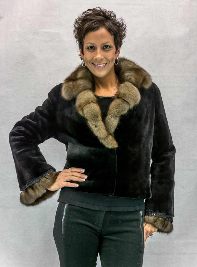 W7 black sheared letout mink 21 bolero with sable cross cut collar and cuff2 e1574481764855