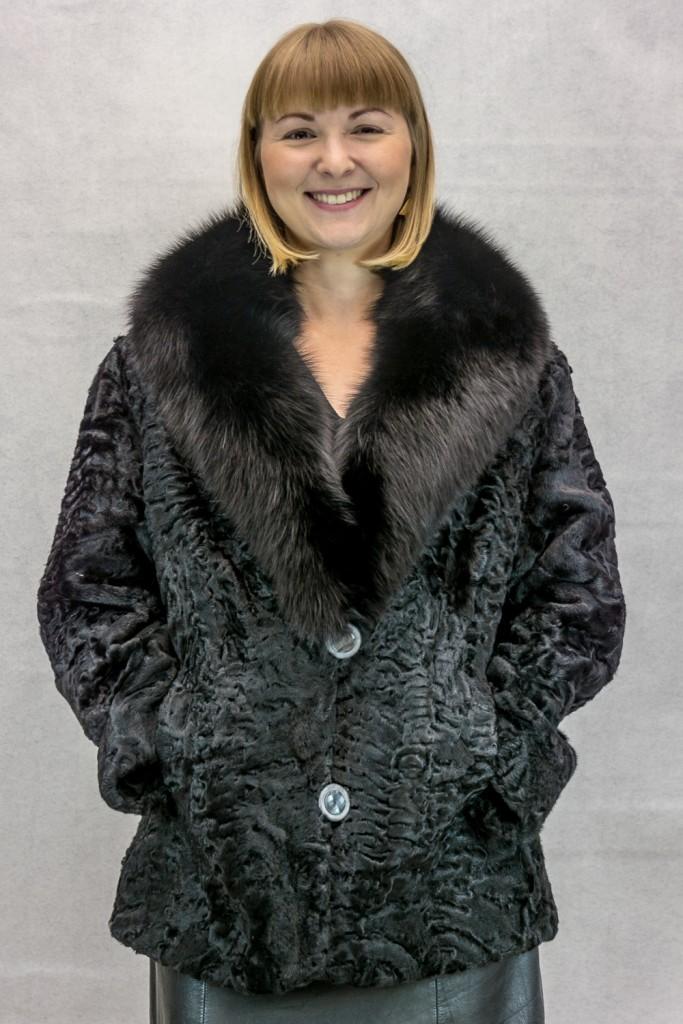 W73 Black persian lamb shaped 26 jacket with black fox sawl collar2