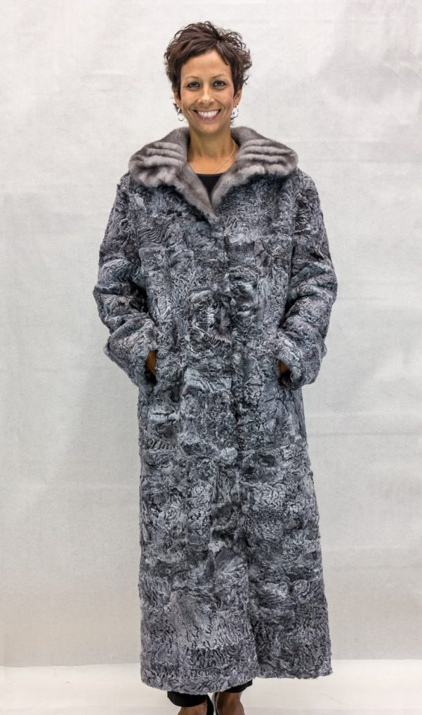 W74 grey persian lamb sections 53 coat with natural grey gathered shawl collar2 e1479956081239