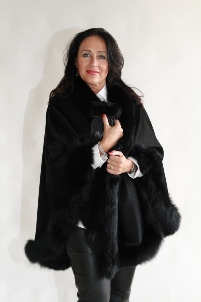 "Black Cashmere 34"" Cape with Black dyed Fox Trim1"