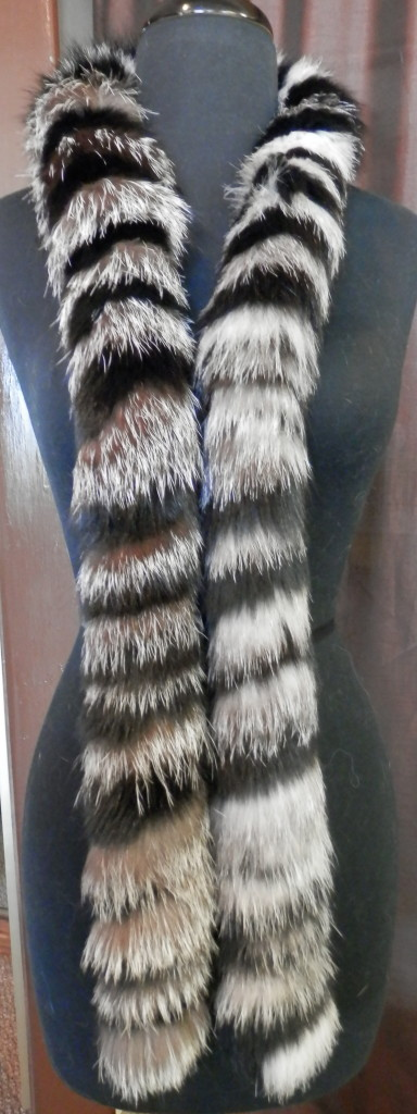 Black and Indigo silver fox scarf1