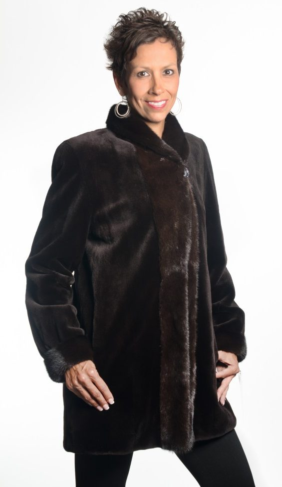 Brown 32 sheared mink jacket with natural brown mink trim reverses to taffeta silk1 e1488840054821