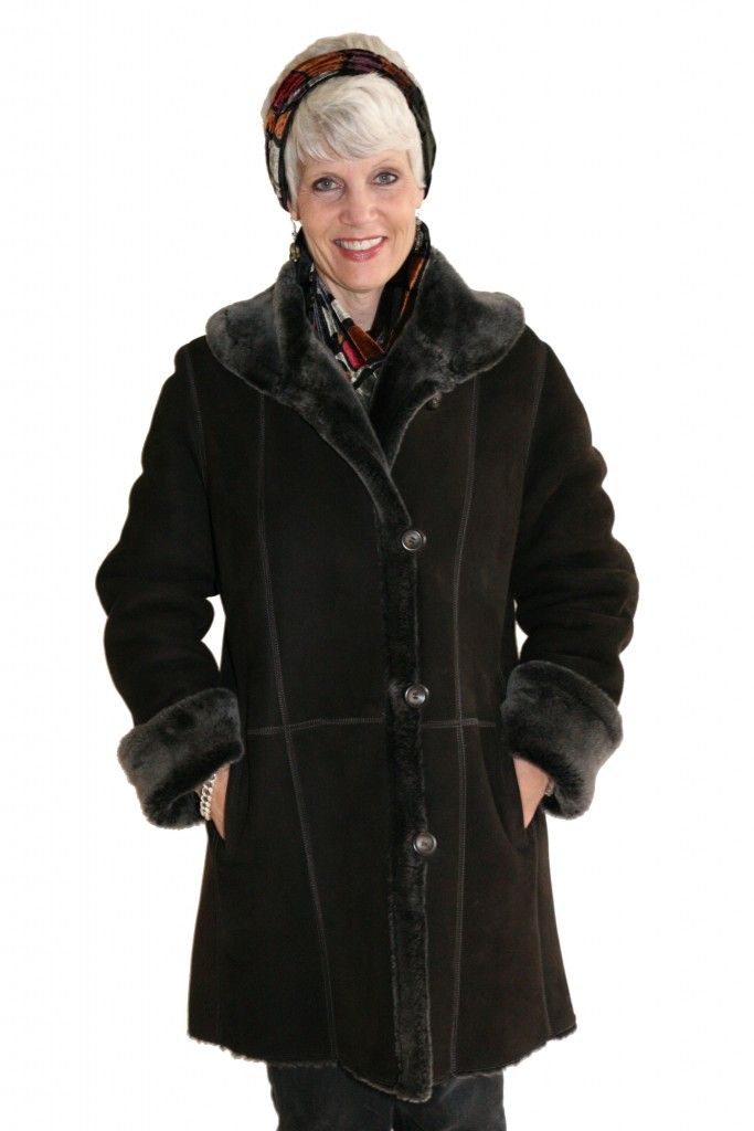 Brown Brisa Suede 32 Shearling Jacket with Frosted Liner1 1