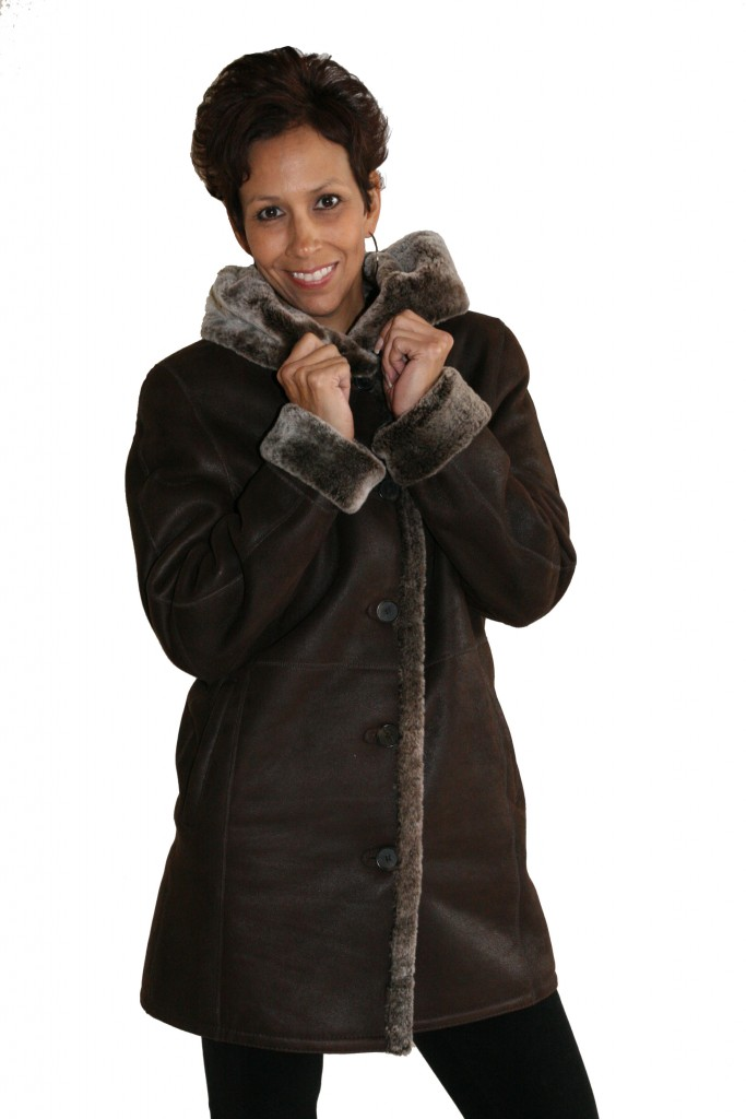 Brown Iron Suede 32 Shearling Parka with Frosted Liner1 1