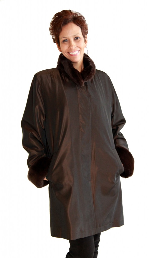 Brown Taffeta Rain Silk 36 Jacket1 1