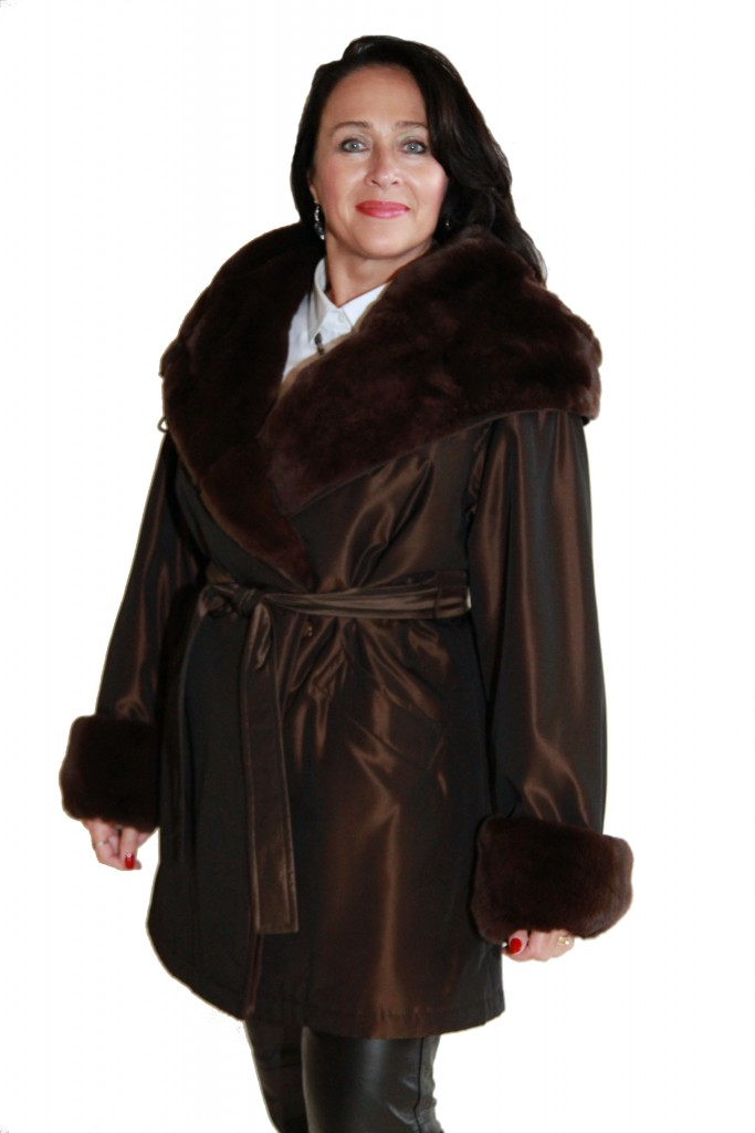 Brown Taffeta Rain Silk 36 Parka1 1