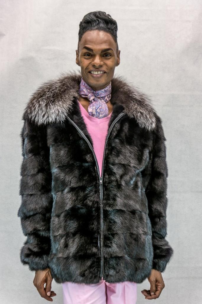 M14 dark ranch horizontal design mink 32 zip jacket with indigo fox collar2