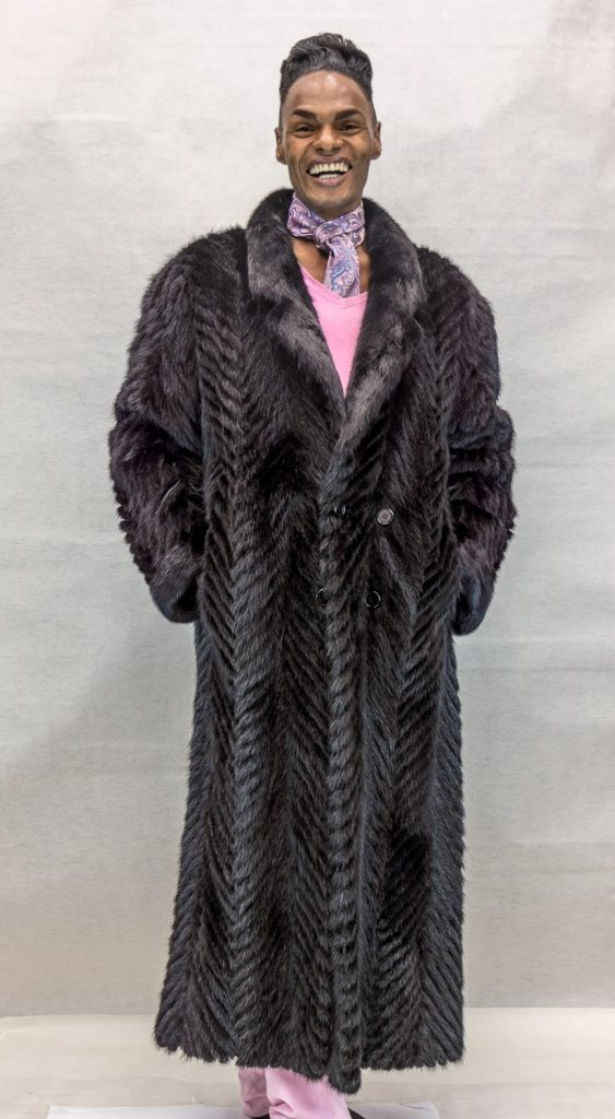 M24 black ranch mink tail cheveron design 56 coat with full mink collar2 e1483158705928