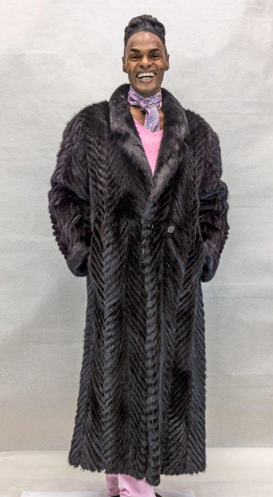 M24 black ranch mink tail cheveron design 56 coat with full mink collar2 e1483158705928