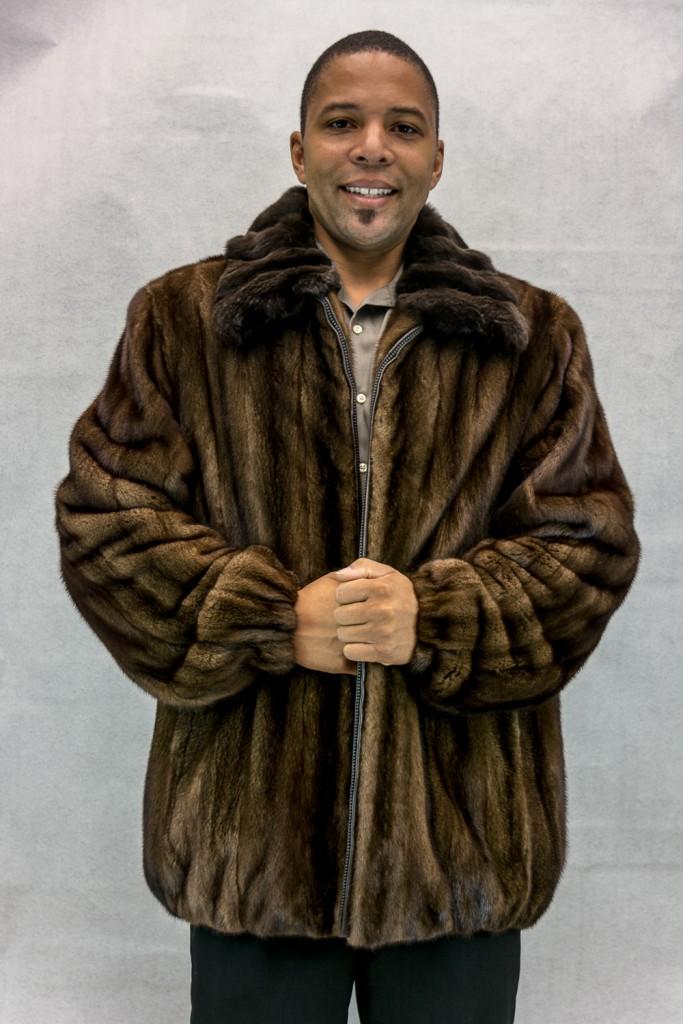 M9 natural darklunaraine letout female 33 mink zip jacket with brown chinchilla cross cur collar2