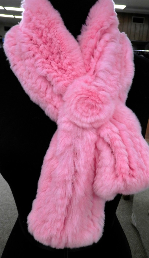 Pink Knitted Rex Rabbit Fur Scarf with Rosette1