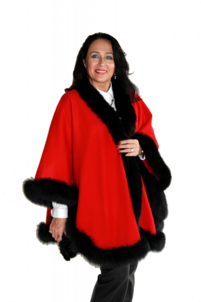 Red Cashmere 34 Cape with Black dyed Fox Trim1 1