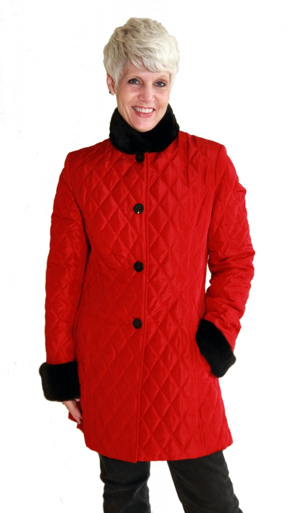 Red Taffeta Rain Silk 32 Quilted Diamond Design Jacket1 1