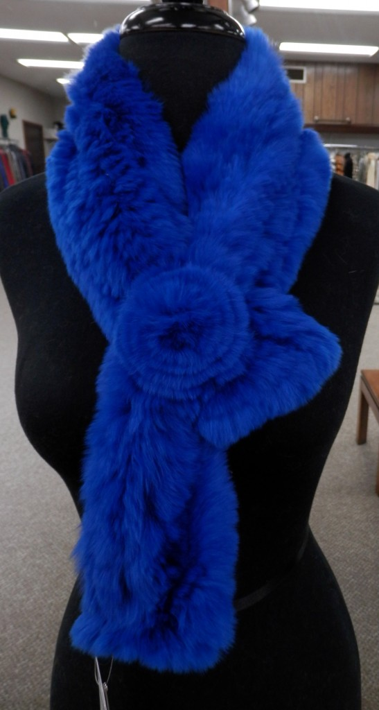 Royal Blue Knitted Rex Rabbit Fur Scarf with Rosette2