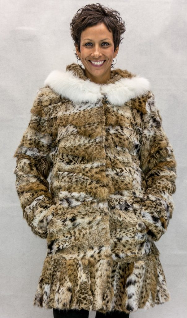 W82 Natural Cat Lynx 34 Section Parka with Ruffle Hem Design and Shadow Fox Trim on Hood2 e1480112378766