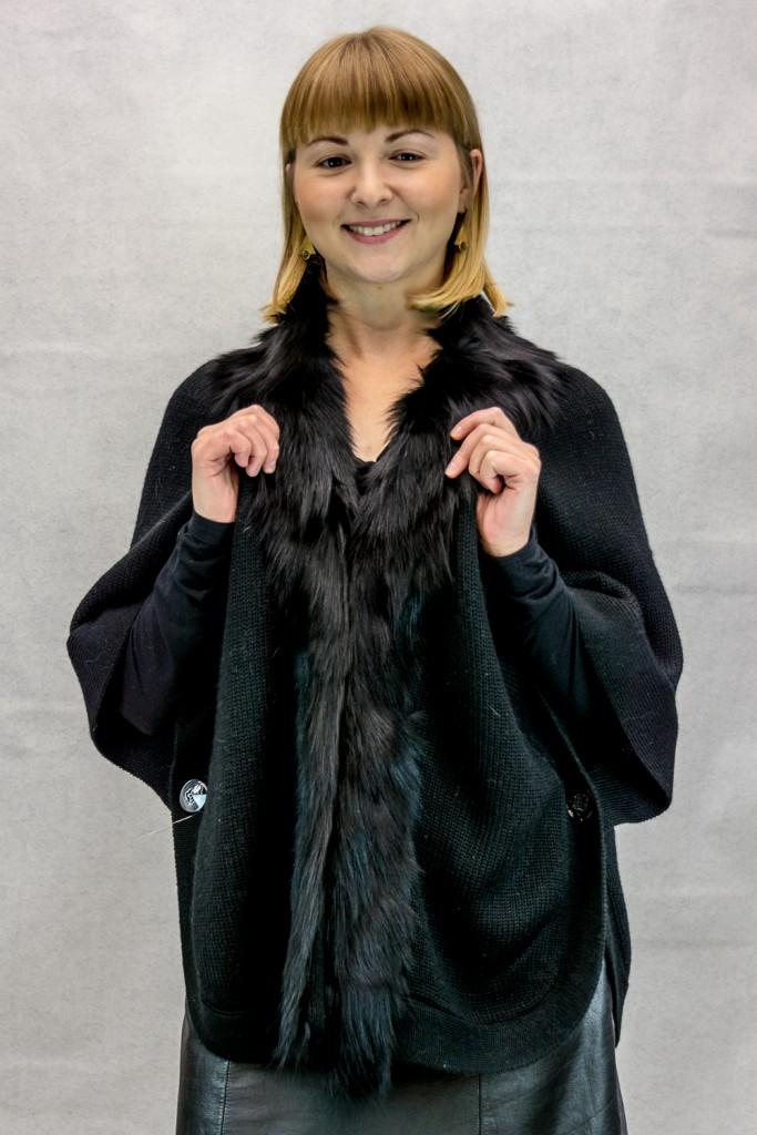 W99 Black Wool Knit Sweater 24 Cape Jacket with Black Fox Collar2