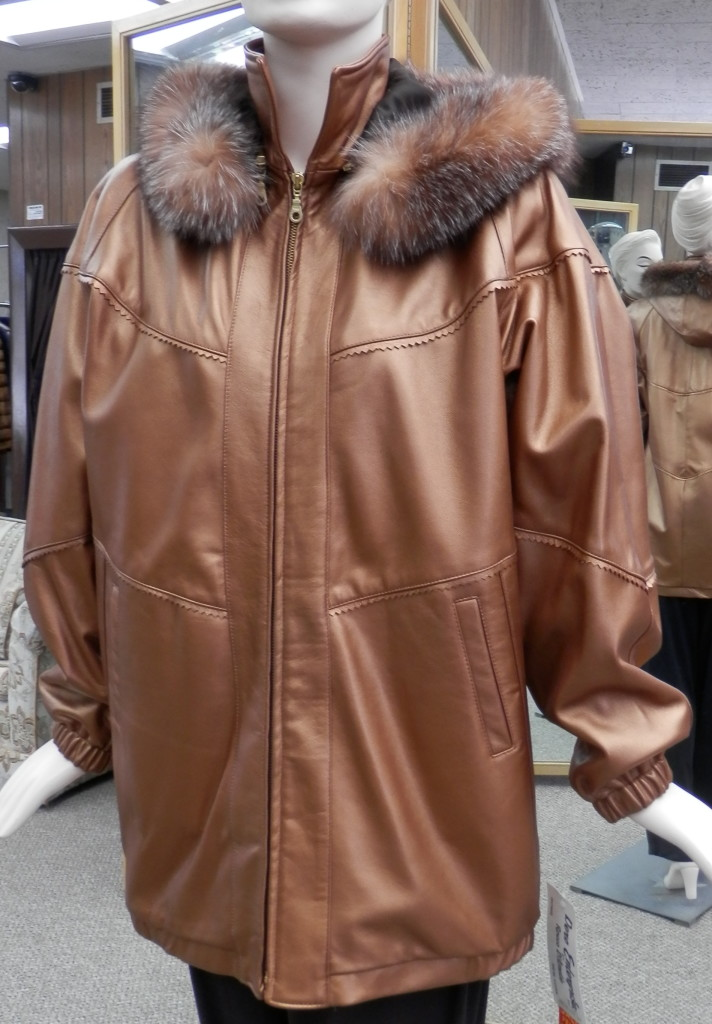 copper bronze lamb leather parka1