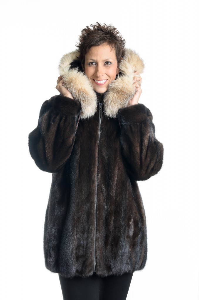 natural 30 brown mahogany letout female mink zip jacket with detachable hood with crystal fox trim1