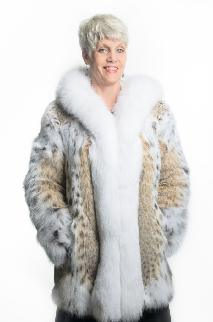 natural 30 lynx parka with white fox hood and tuxedo trim