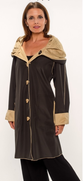 raincoat black and gold