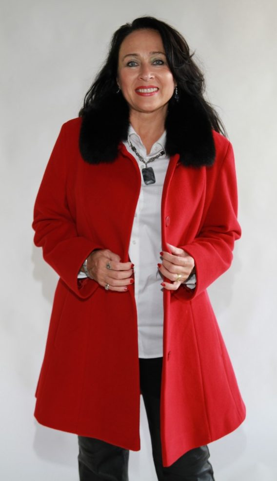 red cashmere and wool 35 jacket with black fox collar1 e1480111843524