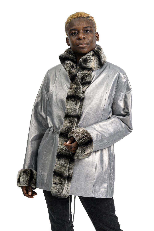 W109 2 Silver Leather Jacket