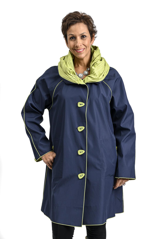 W83 2 UBU Reversible Raincoat Navy to Spring Green