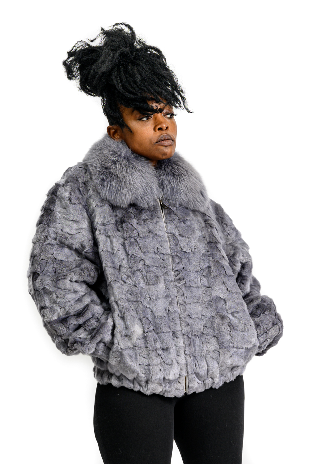 W95 2 Gray Mink Fur Sections Jacket with Fox Collar