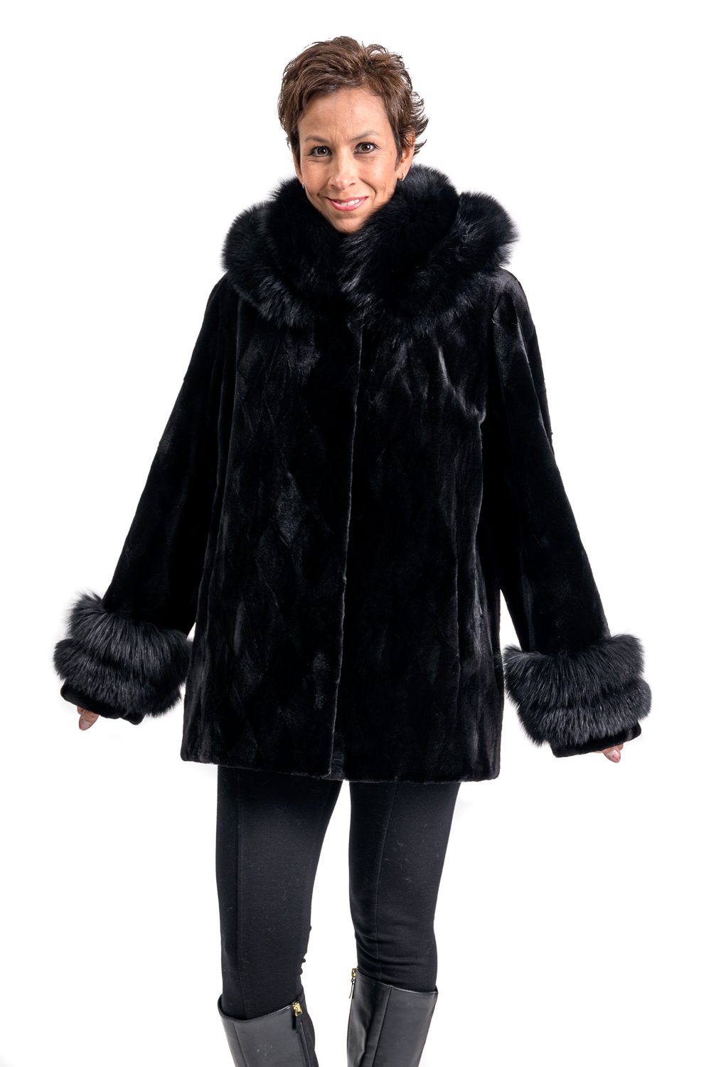 W40 2 Mink Fur Sections Coat with Fox