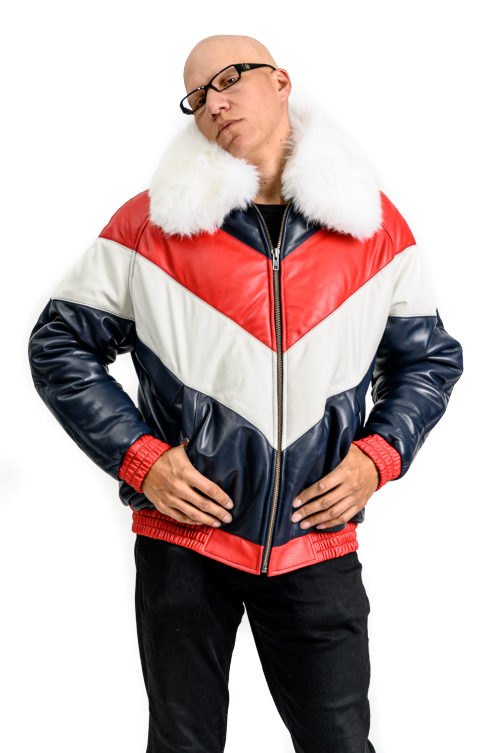 M44 2 Mans Red White Blue Puffer With Fox Fur