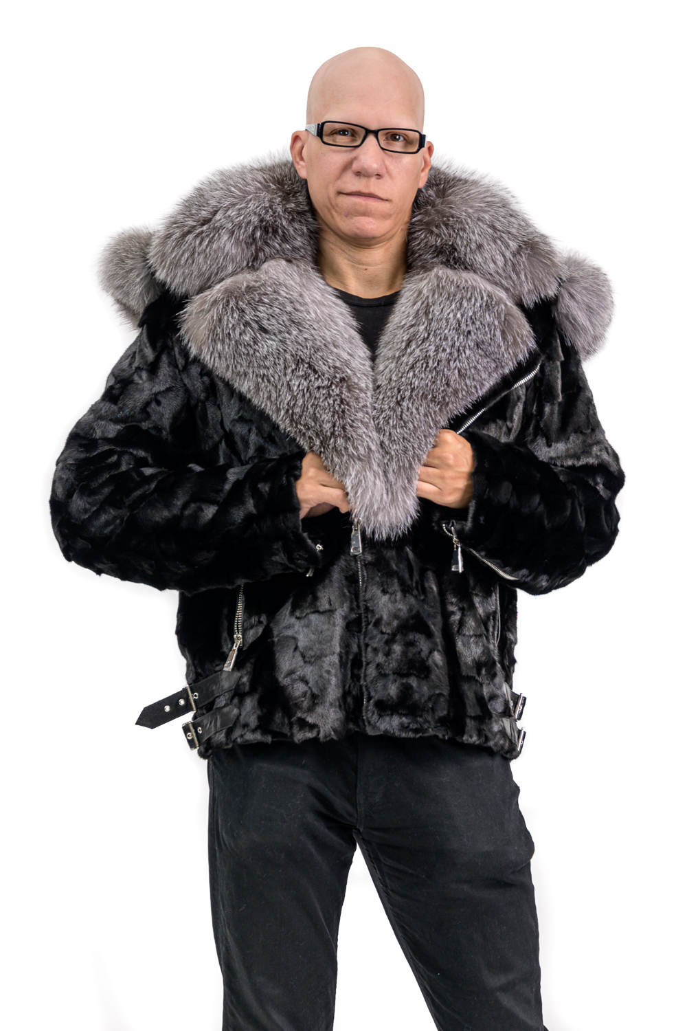 M28 2 Mink Moto Jacket with Silver Fox