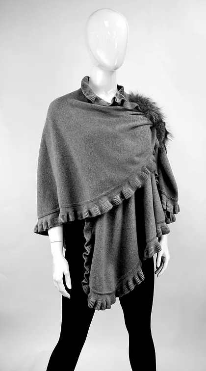 Mitchies gray ruffle wrap