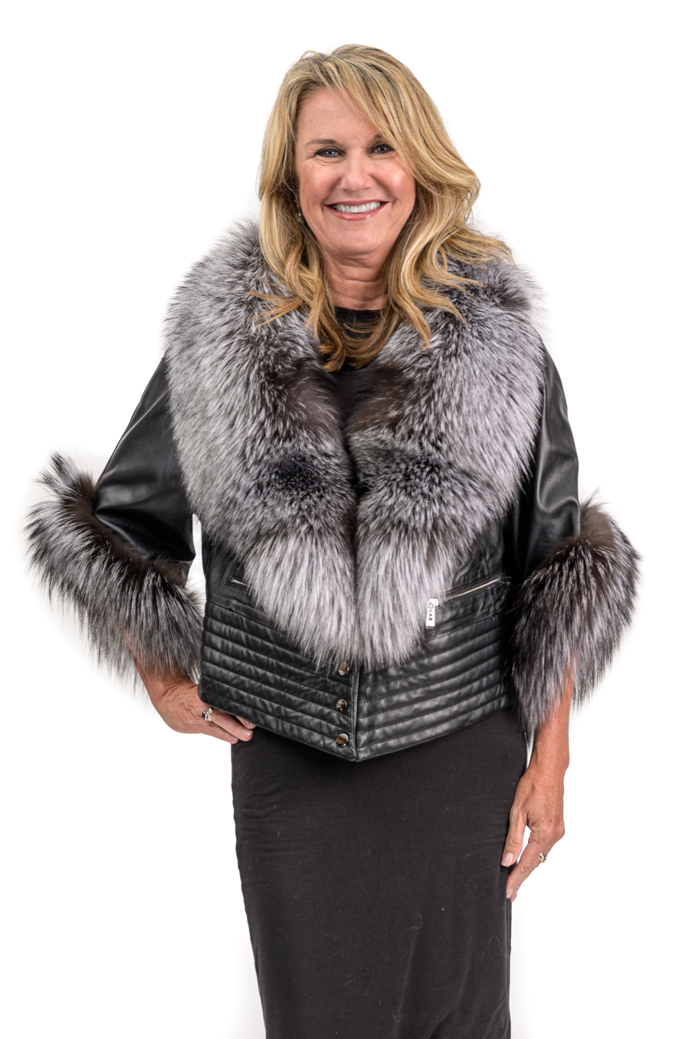 W5 2 Lamb Leather Vest with Silver Fox 1
