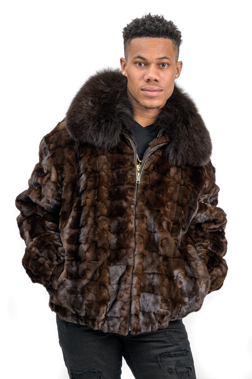 M13 2 Mans Mink Fur Sections Jacket with Fox