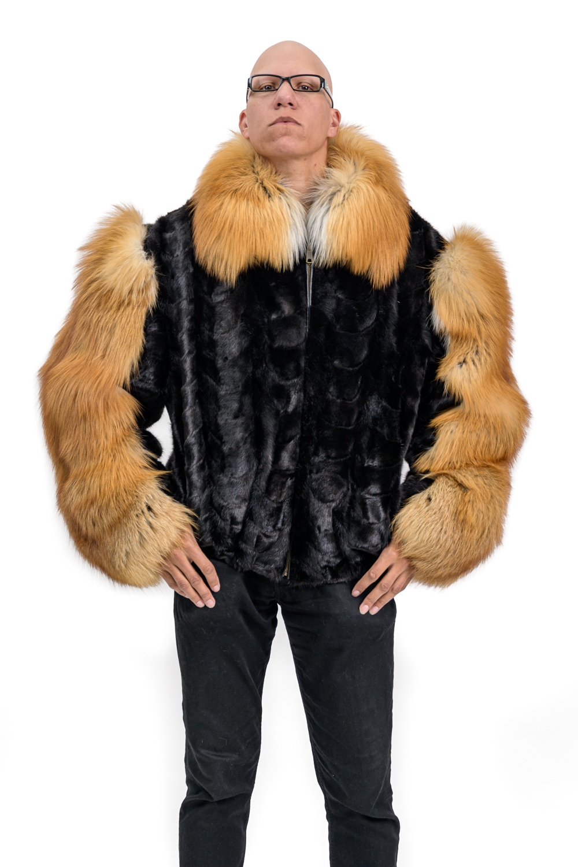 M18 3 Mans Mink Fur Jacket with Red Fox